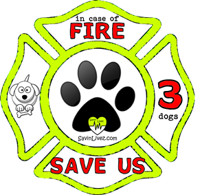 reflective 3 dogs rescue decal, 3 dogs alert, save my pets, 3 dogs alert sticker, 3 dogs window sticker, 3 dogs inside, 3 dogs emergency decal, 3 dogs inside decal, 3 dogs finder, 3 dogs rescue alert decal, firefighter decal, refelctive decal, reflective sticker, in case of fire, firefighter decal, fire department