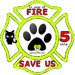 reflective 5 cats rescue decal, 5 cats alert, save my pets, 5 cats alert sticker, 5 cats window sticker, 5 cats inside, 5 cats emergency decal, 5 cats inside decal, 5 cats finder, 5 cats rescue alert decal, firefighter decal, refelctive decal, reflective sticker, in case of fire, firefighter decal, fire department