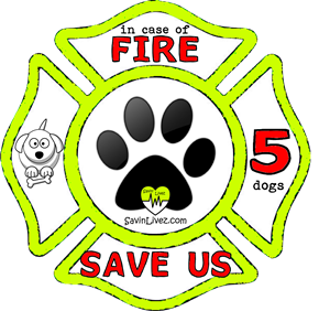 reflective 5 dogs rescue decal, 5 dogs alert, save my pets, 5 dogs alert sticker, 5 dogs window sticker, 5 dogs inside, 5 dogs emergency decal, 5 dogs inside decal, 5 dogs finder, 5 dogs rescue alert decal, firefighter decal, refelctive decal, reflective sticker, in case of fire, firefighter decal, fire department