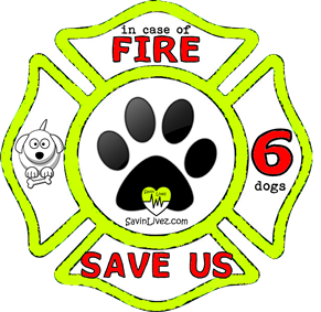 reflective 6 dogs rescue decal, 6 dogs alert, save my pets, 6 dogs alert sticker, 6 dogs window sticker, 6 dogs inside, 6 dogs emergency decal, 6 dogs inside decal, 6 dogs finder, 6 dogs rescue alert decal, firefighter decal, refelctive decal, reflective sticker, in case of fire, firefighter decal, fire department